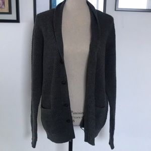 FRANK AND OAK button down long wool blend cardigan